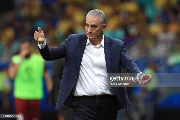 Tite head coach of Brazil reacts during the Copa America Brazil 2019 group A match between Brazil and Venezuela at Arena Fonte Nova on June 18, 2019...