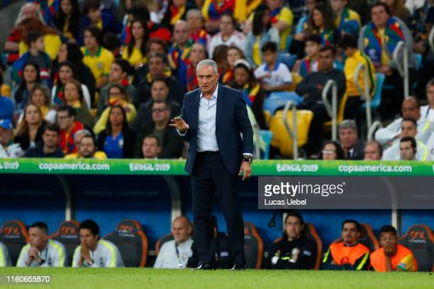 Tite head coach of Brazil reacts during the Copa America Brazil 2019 Final match between Brazil and Peru at Maracana Stadium on July 07, 2019 in Rio...