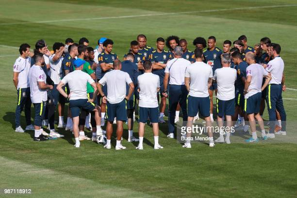 Tite Head coach of Brazil speaks to his players during a Brazil training session on June 29 2018 in Sochi Russia
