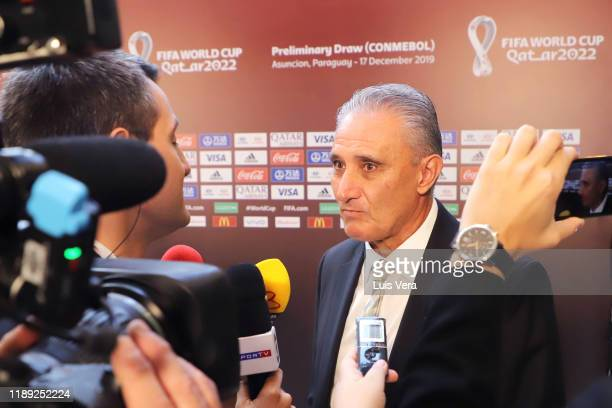 Tite head coach of Brazil speaks to the press after the draw of the South American Qualifiers for Qatar 2022 at Centro de Convenciones de CONMEBOL on...
