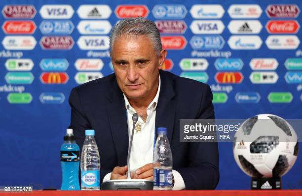 Tite Head coach of Brazil talks to the media during a press conference after the 2018 FIFA World Cup Russia group E match between Brazil and Costa...