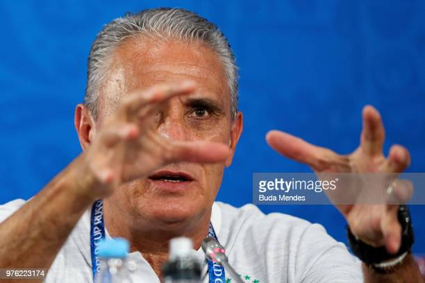 Tite Head coach of Brazil talks to the media during a press conference ahead of the FIFA World Cup 2018 at Rostov Arena on June 16 2018 in...