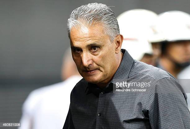 Tite head coach of Corinthians looks on during the match between Corinthians and Goias for the Brazilian Series A 2015 at Arena Corinthians stadium...