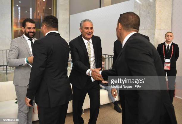 Tite Manager of Brazil greets guests prior to the Final Draw for the 2018 FIFA World Cup Russia at the State Kremlin Palace on December 1 2017 in...
