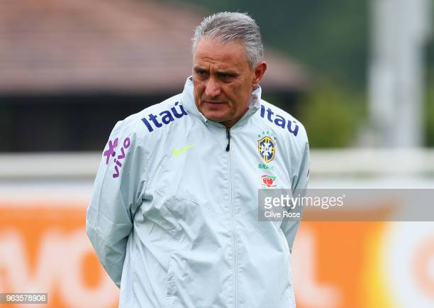 Tite Manager of Brazil looks on during a Brazil training session ahead of the international friendly between Brazil and Croatia at Tottenham Hotspur...