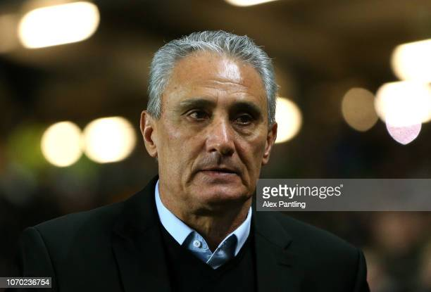 Tite Manager of Brazil looks on during the International Friendly match between Brazil and Cameroon at Stadium MK on November 20 2018 in Milton...