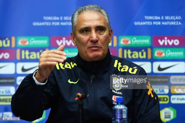 Tite Manager of Brazil speak during a Brazil Press Conference ahead of the International Friendly Match between England and Brazil on November 13...