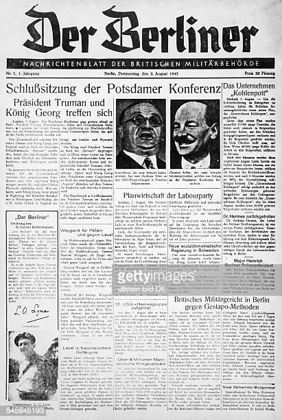 Titelseite des Nachrichtenblatts derbritischen Militärregierung`Der Berliner' mit der Meldung vomAbschluss der Konferenz