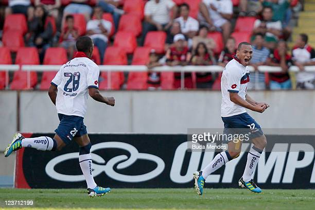 Titi of Bahia celebrates scored goal against Flamengo during a match as part of Serie A 2011 at Engenhao stadium on September 04 2011 in Rio de...