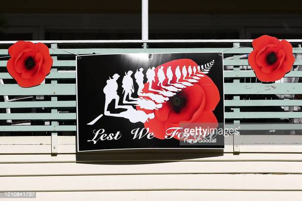 Titirangi house is decorated to commemorate Anzac Day on April 24 2020 in Auckland New Zealand New Zealanders are preparing to commemorate Anzac Day...