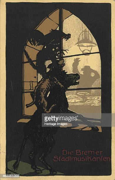 Title design of the book Town Musicians of Bremen by the Brothers Grimm 1910s From a private collection