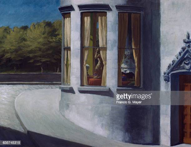Title of painting is August in the City by Edward Hopper