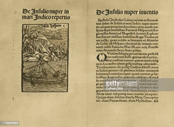 'De Insulis Nuper in Mari Indico Repertis' by Christopher Columbus second Latin edition printed by Iohann Bermann 1494 The latin text describes...