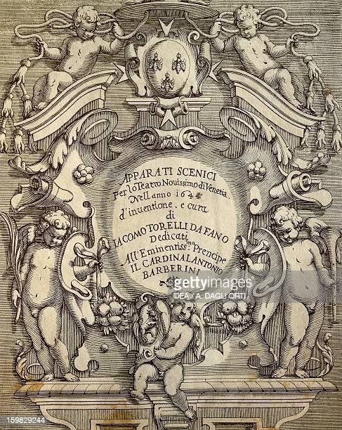 Title page for Apparati Scenici per il Teatro Nuovissimo dell'Opera Pubblica di Venezia by Giacomo Torelli from Fano Venice Museo Correr