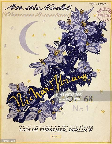Title page for the Berlin edition of Au Die Nacht Opus 68 by Richard Strauss Vienna Gesellschaft Der Musikfreunde