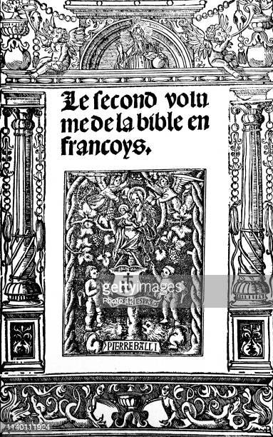Title page from a 16th Century Bible Gothic elements such as the large black lettering and the angels beside the Virgin and Child are present The...