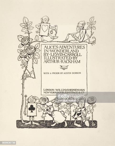 Title Page from Alice's Adventures in Wonderland by Lewis Carroll pub 1907 lithograph