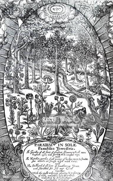 Title page from Paradisi in Sole Paradisus Terrestris by John Parkinson Depicted is Adam and Eve in the Garden of Eden gathering fruit from the vast...