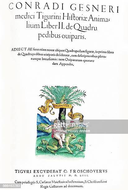 Title page Illustration of a child on a frog from 'medici Tigurini Historiae animalium' Historia animalium 1564 a veterinary anatomical book by...