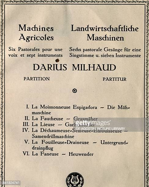 Title page of Agricultural machinery by Darius Milhaud six pastorals for solo voice and instruments France 20th century Praga Prazska Konzervator