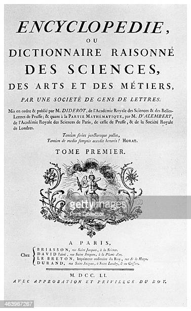 Title page of Denis Diderot's Encyclopedie 1751 Diderot was a prominent figure in the French Enlightenment A print from Things a volume about the...