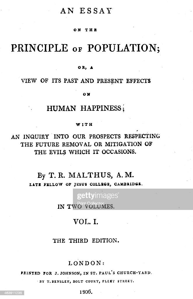 title page of essay on the principle of population by thomas  title page of essay on the principle of population by thomas malthus 1806 thomas