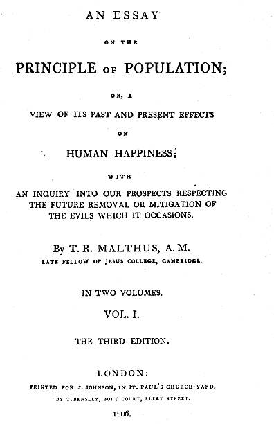 title page of essay on the principle of population by thomas  title page of essay on the principle of population by thomas malthus 1806 artist