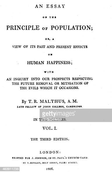 title page of essay on the principle of population by thomas  title page of essay on the principle of population by thomas malthus 1806 artist thomas malthus pictures getty images