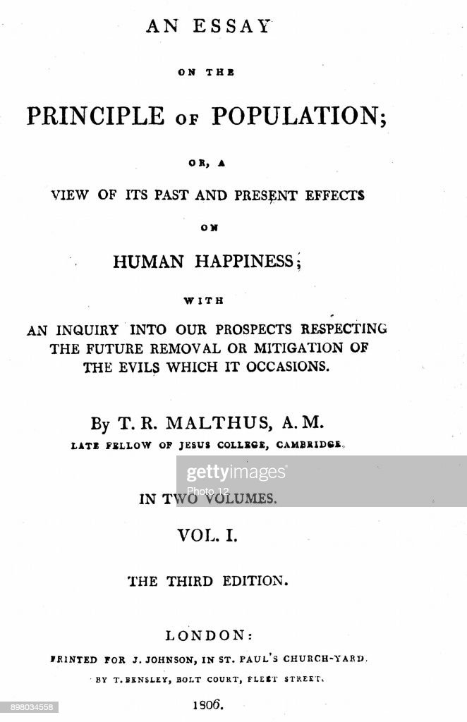 Title Page Of First Volume Of Third Edition (1806) Of Malthus U0027Essay On