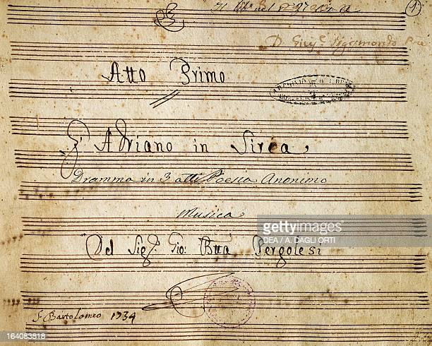 Title page of handwritten score for the first act of Adriano in Siria opera by Giovanni Battista Pergolesi Naples Museo Storico Musicale