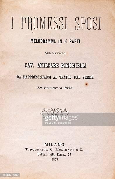 Title page of I Promessi Sposi , opera by Amilcare Ponchielli . Paderno Ponchielli, Casa Museo Amilcare Ponchielli