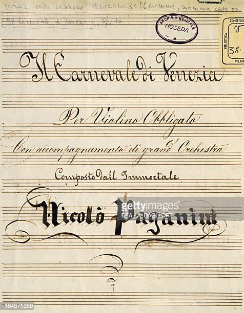 Title page of Il Carnevale di Venezia by Niccolo' Paganini Milan Biblioteca Del Conservatorio 'Giuseppe Verdi'
