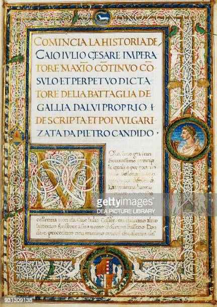 Title page of Julius Caesar's Commentaries translated by Pier Candido Decembrio 15th century