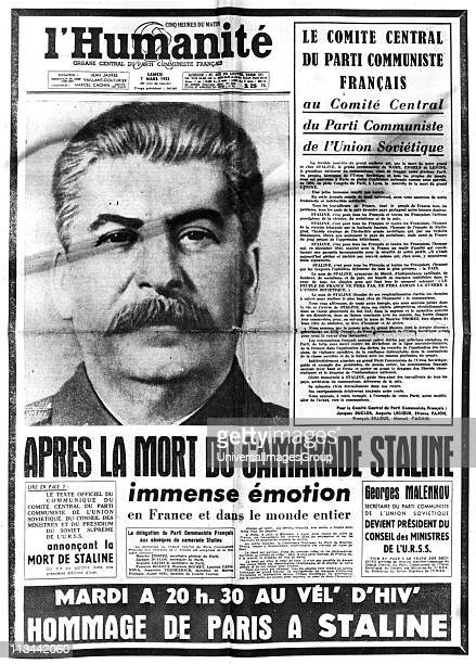 Title page of l'Humanite' Paris 7 March 1953 reporting on the death of Joseph Stalin Russian Communist dictator