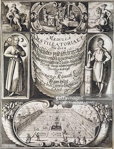 Title page of Medulla destillatoria e medica by Conrad Khunrath edition published in Hamburg in 1638 Vicenza Biblioteca Civica Bertoliana
