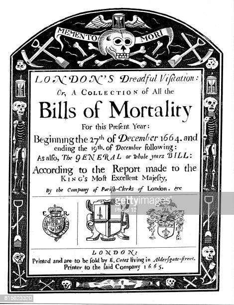 Title page of mortality bill for London for 1664/5 covering part of the period of the Great Plague John Graunt based his statistical analysis on...