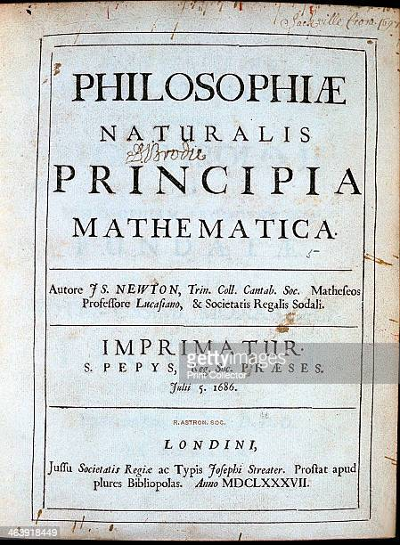 Title page of Newton's Philosophiae Naturalis Principia Mathematica 1687 English scientist and mathematician Isaac Newton's discoveries were prolific...