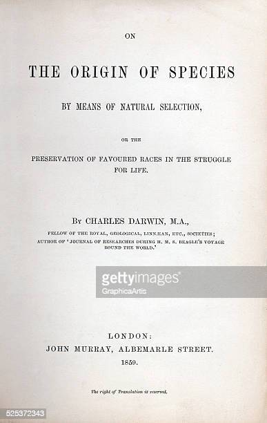 Title page of 'On the Origin of Species by Means of Natural Selection' Charles Darwin's 1859 book on evolution book page 1859