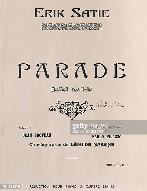 Title page of Parade ballet by Erik Satie theme by Jean Cocteau and with set and costumes by Pablo Picasso 1917 20th century Praga Prazska Konzervator