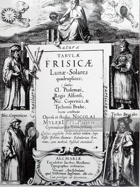 Title page of Tabulae Frisicae LunaeSolares by Nicolaus Mulerius At the top of the page are the Sun and Moon and their astrological 'houses' Leo and...