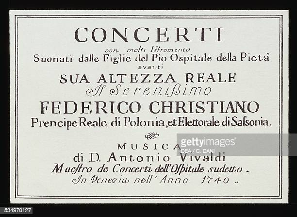Title page of the Concerto for multiple instruments by Antonio Vivaldi 1740 18th century