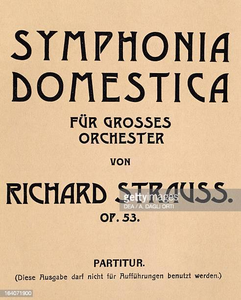 Title page of the Domestic symphony by Richard Strauss Bote and Bak edition Berlin Vienna Gesellschaft Der Musikfreunde