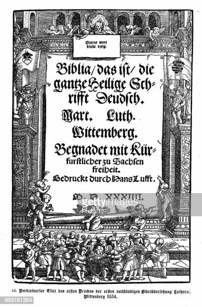 Title page of the first printing of the complete Bible translation by Martin Luther Wittenberg 1534