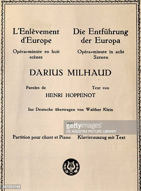 Title page of The Rape of Europa by Darius Milhaud opera in eight scenes France 20th century Praga Prazska Konzervator