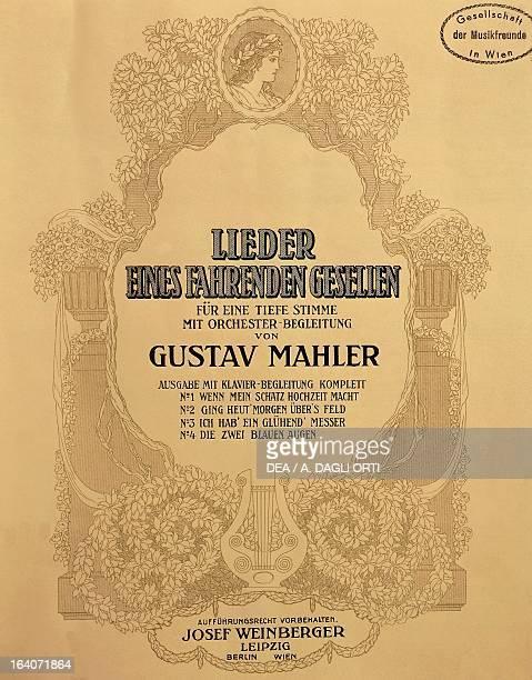 Title page of the score for Lieder eines fahrenden Gesellen by Gustav Mahler Vienna Gesellschaft Der Musikfreunde