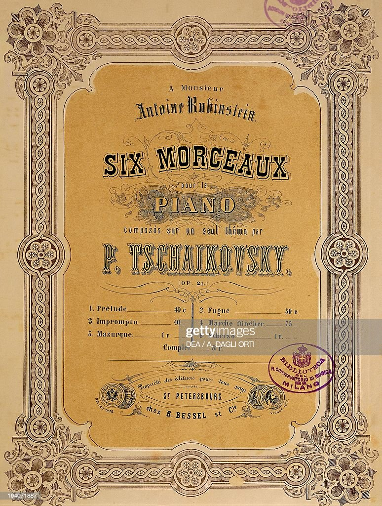 Title page of the score for Six pieces for piano... : News Photo