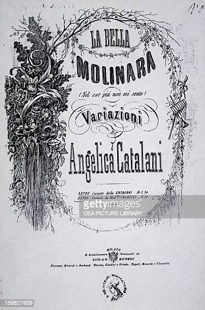Title page of the sheet music for The beautiful millerwoman variation by Angelica Catalani on the work of Giovanni Paisiello Milan Biblioteca Del...