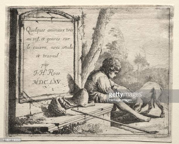 Shepherd Petting his Dog, 1665. Creator Edmond Gosselin .