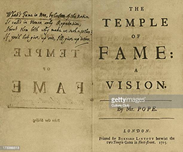 'The Temple of Fame a Vision' by Alexander Pope printed in London 1715 Pope presented this copy to his lover Martha Blount autographed The...