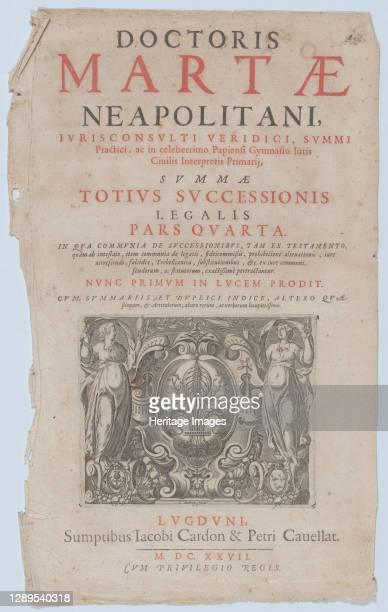 Title page vignette for 'Doctoris Martae Neapolitani', 1627. Artist Charles Audran.